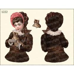 Велюрик девочка с котенком